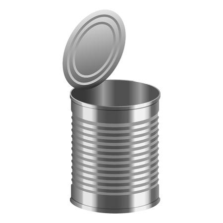 Apri il modello di tincan. Illustrazione realistica del mockup di vettore di tincan aperto per il web design isolato su sfondo bianco Vettoriali
