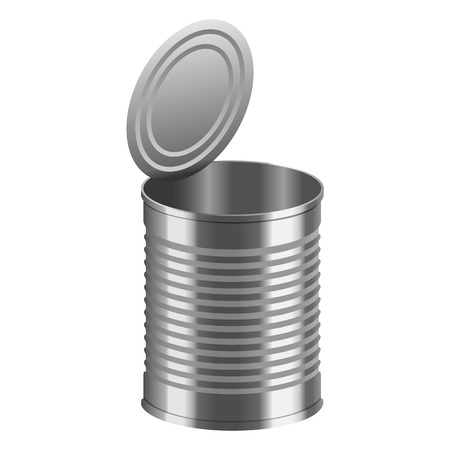 Open tincan mockup. Realistic illustration of open tincan vector mockup for web design isolated on white background