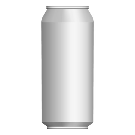 Drink tin can mockup. Realistic illustration of drink tin can vector mockup for web design isolated on white background Ilustração