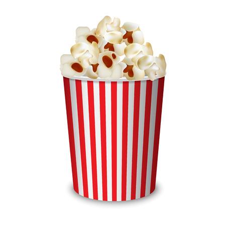 Popcorn box mockup. Realistic illustration of popcorn box vector mockup for web design isolated on white background Vetores