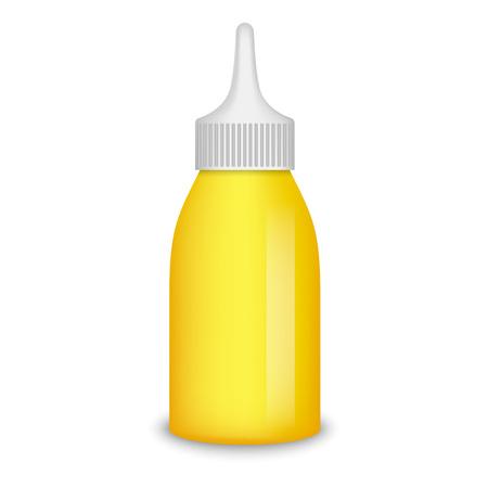 Mustard bottle mockup. Realistic illustration of mustard bottle vector mockup for web design isolated on white background