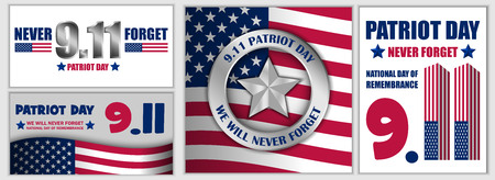 Patriot Day September 11 banner set, flat style