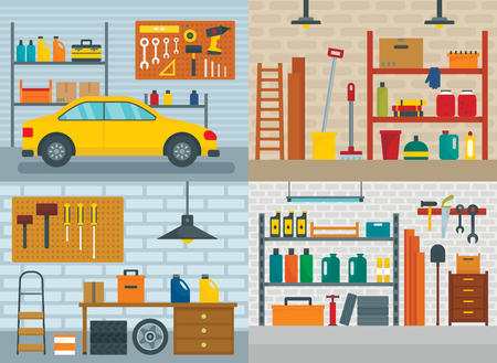 Garage interior car room banner concept set. Flat illustration of 4 garage interior car room vector banner concepts for web 矢量图像