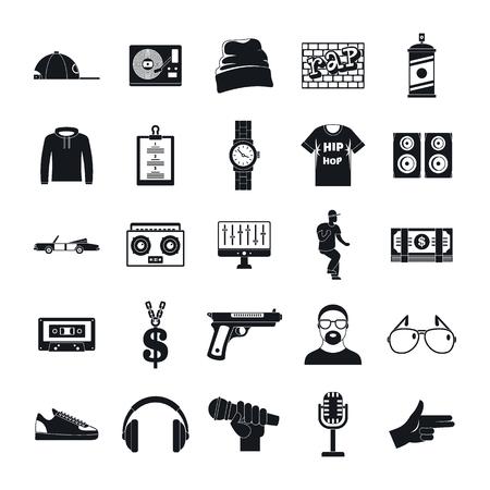 Jeu d'icônes de danse hiphop rap swag musique. Illustration simple de 16 icônes vectorielles hiphop rap swag musique danse pour le web