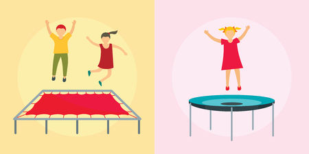 Trampoline jumping park joy banner concept set. Flat illustration of 2 trampoline jumping park joy vector banner concepts for web Illustration