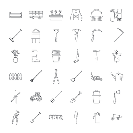 Farming equipment garden icons set. Outline illustration of 25 farming equipment garden vector icons for web