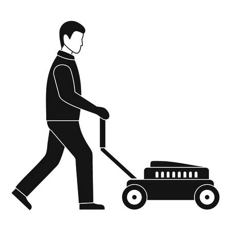 Man with lawn mower icon. Simple illustration of man with lawn mower vector icon for web design isolated on white background