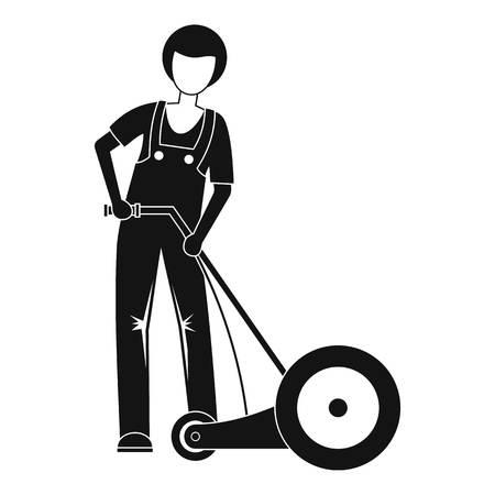 Icono de hierba cortada de granjero. El ejemplo simple del granjero cortó la hierba icono vectoriales para diseño web aislado sobre fondo blanco.