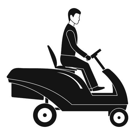 Mann am Grasmaschinensymbol. Einfache Illustration des Mannes an der Vektorikone der Grasmaschine für das Webdesign lokalisiert auf weißem Hintergrund
