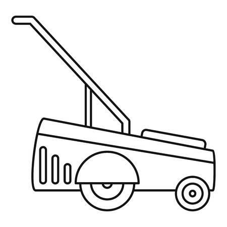 Motor Grasschneider-Symbol. Umreißen Sie die Illustration des Vektorsymbols des Motorgrasschneiders für das Webdesign, das auf weißem Hintergrund lokalisiert wird