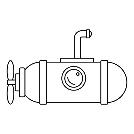 Small submarine icon. Outline illustration of small submarine vector icon for web design isolated on white background