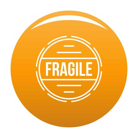 Simple illustration of fragile vector   for any design orange