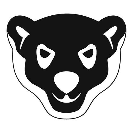 Testa dell'icona dell'orso polare furioso. Semplice illustrazione della testa di furioso orso polare icona vettoriali per il web design isolato su sfondo bianco