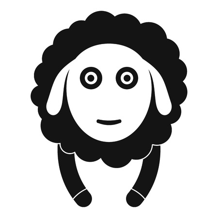 Front face sheep icon. Simple illustration of front face sheep vector icon for web design isolated on white background 矢量图像
