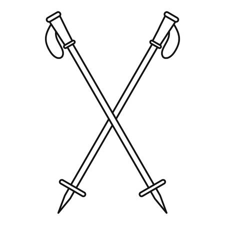 Nord walk sticks icon. Outline illustration of nord walk sticks vector icon for web design isolated on white background