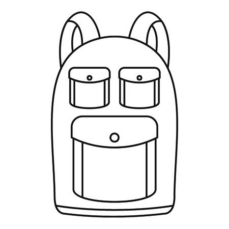 Camp backpack icon. Outline illustration of camp backpack vector icon for web design isolated on white background Stock Illustratie