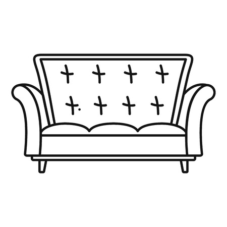 Leather sofa icon. Outline illustration of leather sofa vector icon for web design isolated on white background