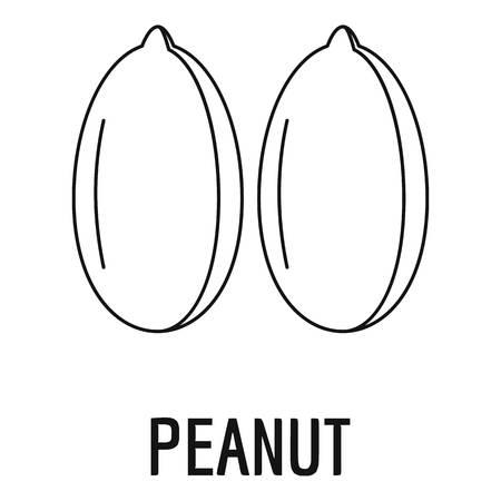 Peanut icon, outline style