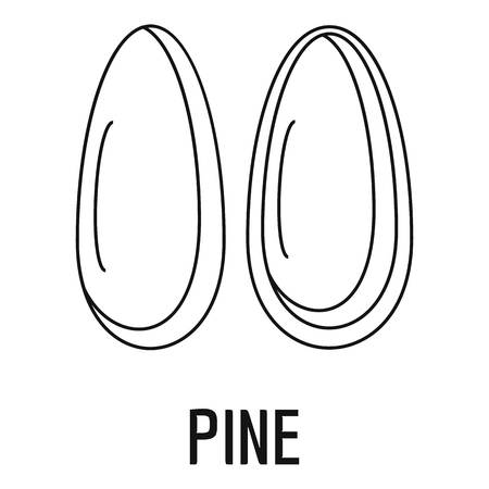 Pine icon, outline style 向量圖像