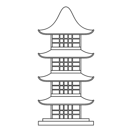 Japan temple icon, outline style Illustration