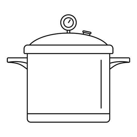 Big cook saucepan icon. Outline illustration of big cook saucepan vector icon for web design isolated on white background  イラスト・ベクター素材