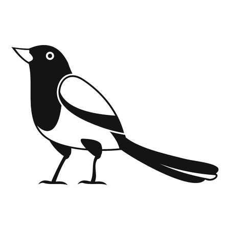 Strange magpie icon, simple style