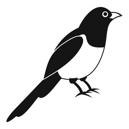 Magpie bird icon, simple style