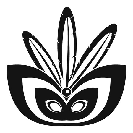 Rio festive mask icon, simple style Çizim