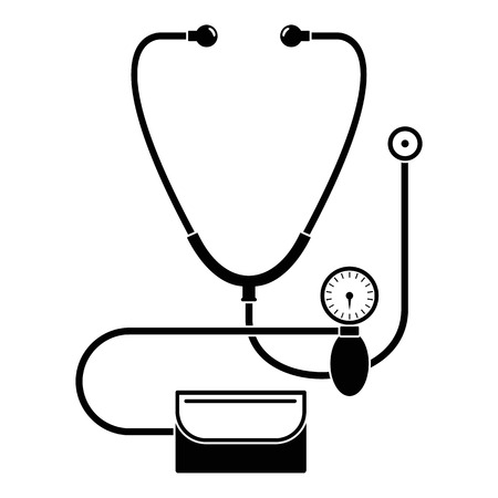 Stethoscope, blood presure icon, simple style