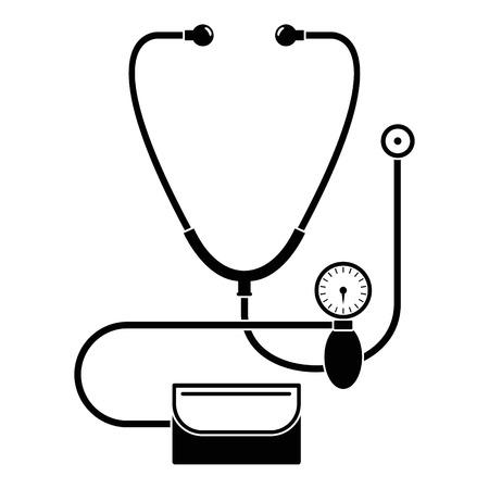 Stetoskop, ikona ciśnienia krwi, prosty styl