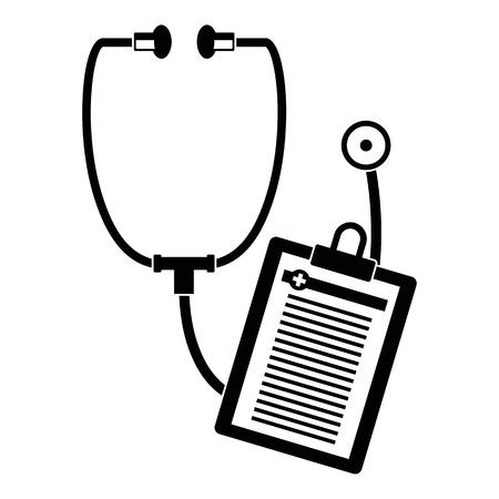 Stethoscope, medical card icon. Simple illustration of stethoscope, medical card vector icon for web design isolated on white background Çizim
