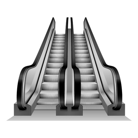 Escalator stairs mockup. Realistic illustration of escalator stairs vector mockup for web design isolated on white background
