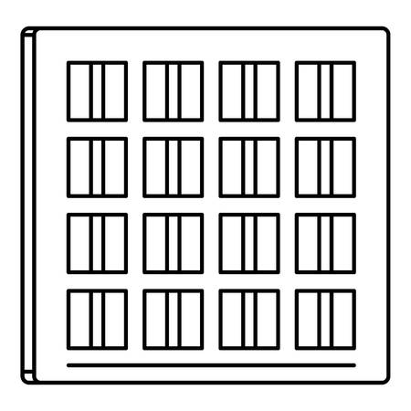 Solar battery cell icon, outline style