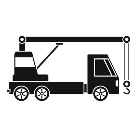 Truck crane icon. Simple illustration of truck crane vector icon for web design isolated on white background Ilustração