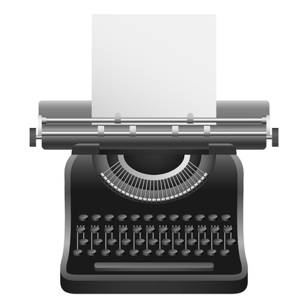 Black typewriter mockup. Realistic illustration of black typewriter vector mockup for web design isolated on white background