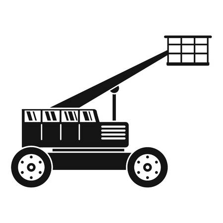 Basket lift truck icon. Simple illustration of basket lift truck vector icon for web design isolated on white background