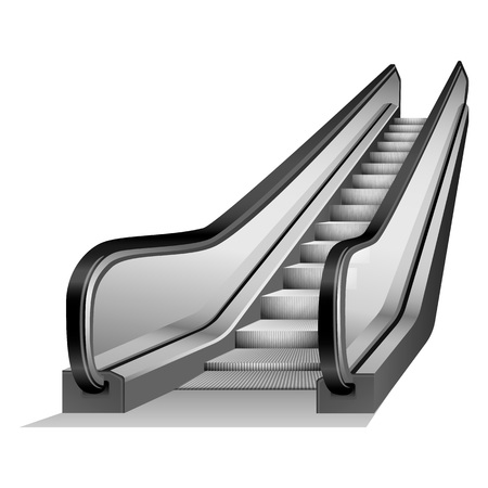 Escalator elevator mockup. Realistic illustration of escalator elevator vector mockup for web design isolated on white background Vectores