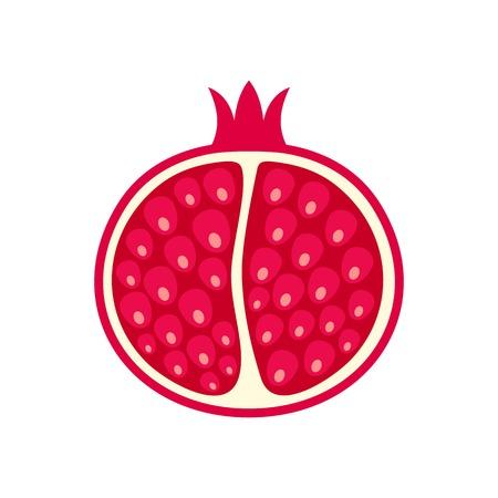 Half of pomegranate icon. Flat illustration of half of pomegranate vector icon for web isolated on white