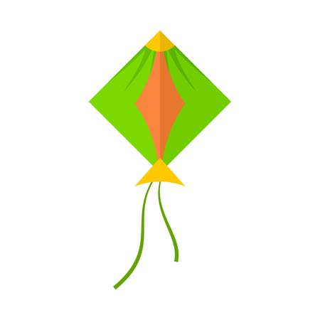 Green kite icon. Flat illustration of green kite vector icon for web isolated on white  イラスト・ベクター素材