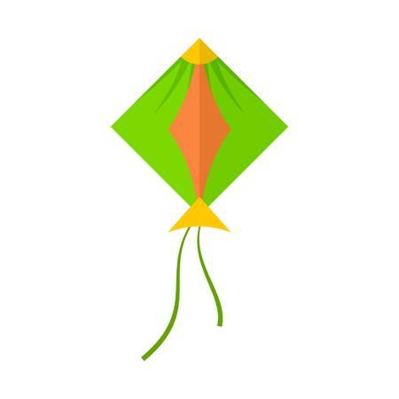 Zielona ikona latawca. Płaska ilustracja ikony wektora zielonego latawca dla sieci na białym tle