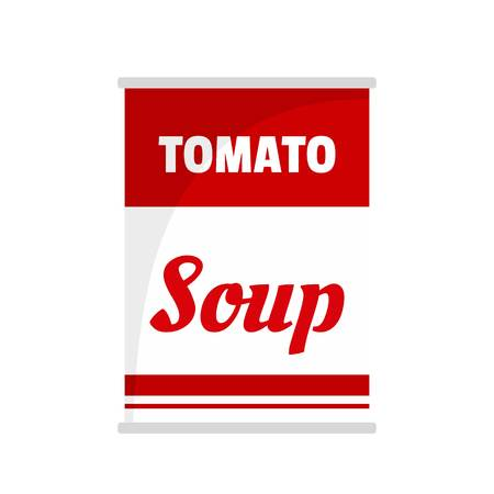 Tomato soup can icon. Flat illustration of tomato soup can vector icon for web isolated on white