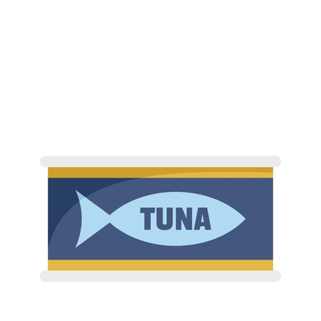 Tuna tin can icon. Flat illustration of tuna tin can vector icon for web isolated on white