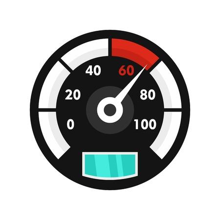 Motor bike speedometer icon, flat style  イラスト・ベクター素材