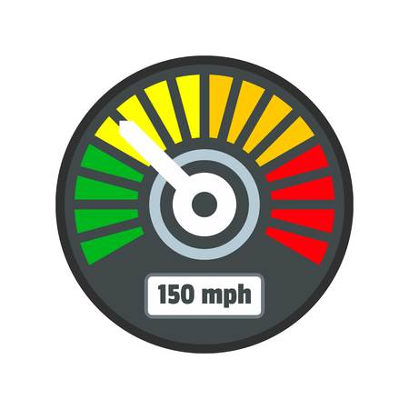 Colorful speedometer icon. Flat illustration of colorful speedometer vector icon for web isolated on white