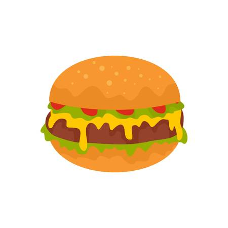 Cheeseburger icon. Flat illustration of cheeseburger vector icon for web isolated on white Illustration