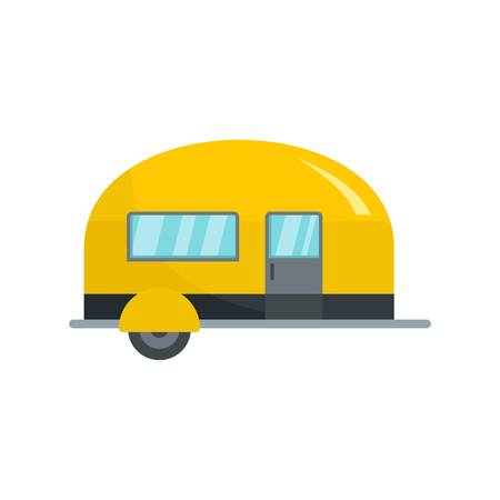 Camp trailer icon, flat style Illustration