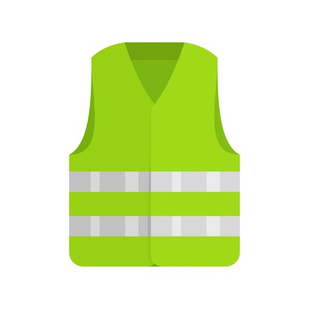 Driver reflective vest icon. Flat illustration of driver reflective vest vector icon for web isolated on white