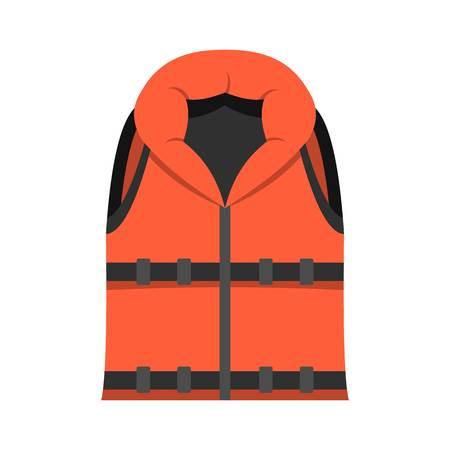 Symbol für die Rettungsweste. Flache Illustration der Rettungsschwimmerweste-Vektorikone für das Netz lokalisiert auf Weiß