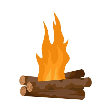 Log cabin fire icon. Flat illustration of log cabin fire vector icon for web isolated on white