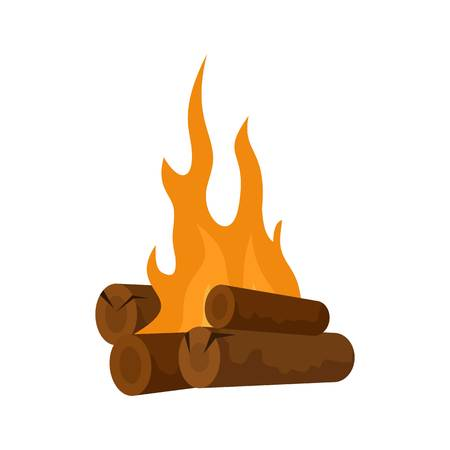 Long camp fire icon. Flat illustration of long camp fire vector icon for web isolated on white Illustration